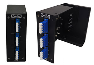 Din Rail Powder Coated Aluminium Patch Panel with LC Quad Duplex Adapters