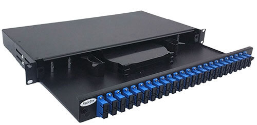 Rack Mount Fiber Optic Patch Panel with 48 ports SC Duplex Singlemode Adapters