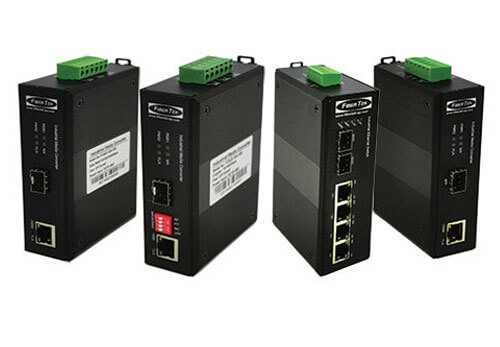 A group of Industrial Ethernet to Fiber Converters