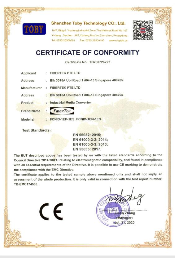 CE certificate under EMC directive for FCNID-1EP & FCNID-1EN